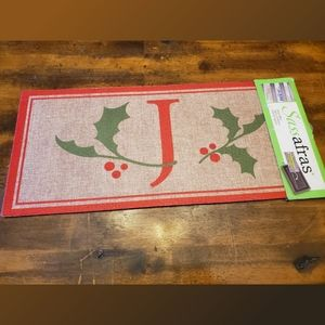 Sassafras Insert Mat with Monogram Christmas Holly